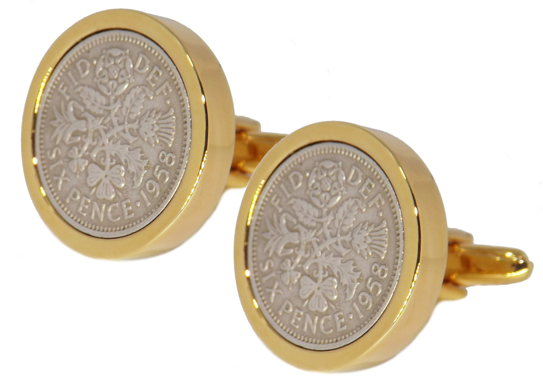 1958 Sixpence Coins Hand Set in a 9ct Gold plate Setting Mens Gift Cuff Links by CUFFLINKS DIRECT
