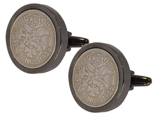 1958 Sixpence Coins Hand Set in a Gun Metal plate Setting Mens Gift Cuff Links by CUFFLINKS DIRECT