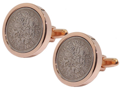 1958 Sixpence Coins Hand Set in a Rose Gold plate Setting Mens Gift Cuff Links by CUFFLINKS DIRECT
