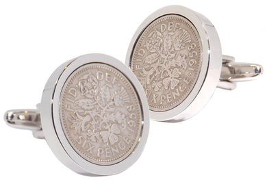 1958 Sixpence Coins Hand Set in a Silver plate Setting Mens Gift Cuff Links by CUFFLINKS DIRECT