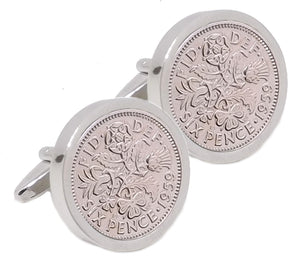 1959 Sixpence Coins Hand Set in a Silver plate Setting Mens Gift Cuff Links by CUFFLINKS DIRECT