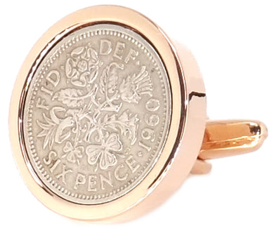 1960 58 years Sixpence Coins Hand Set in a Rose Gold plate Setting Mens Gift Cuff Links by CUFFLINKS DIRECT