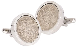 1960 Sixpence Coins Hand Set in a Silver plate Setting Mens Gift Cuff Links by CUFFLINKS DIRECT