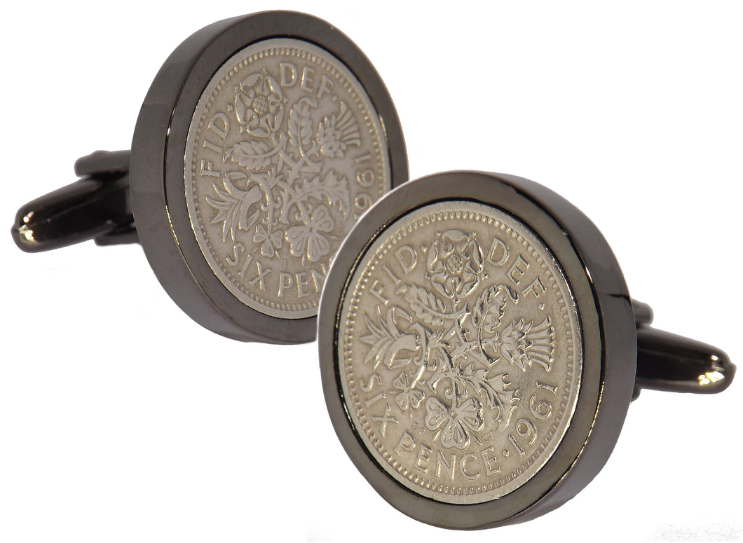 1961 Sixpence Coins Hand Set in a Gun Metal plate Setting Mens Gift Cuff Links by CUFFLINKS DIRECT