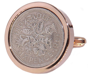 1961 Sixpence Coins Hand Set in a Rose Gold plate Setting Mens 57 Years Gift Cuff Links by CUFFLINKS DIRECT