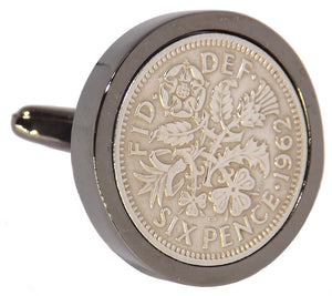 1962 Sixpence Coins Hand Set in a Gun Metal plate Setting Mens Gift Cuff Links by CUFFLINKS DIRECT