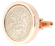 1962 Sixpence Coins Hand Set in a Rose Gold plate Setting Mens Gift Cuff Links by CUFFLINKS DIRECT