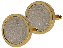 1964 Sixpence Coins Hand Set in a Yellow Gold plate Setting Mens Gift Cuff Links by CUFFLINKS DIRECT