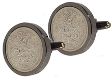 1964 Sixpence Coins Hand Set in a Gun Metal plate Setting Mens Gift Cuff Links by CUFFLINKS DIRECT
