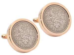 1965 Sixpence Coins Hand Set in a Rose Gold plate Setting Mens Gift Cuff Links by CUFFLINKS DIRECT