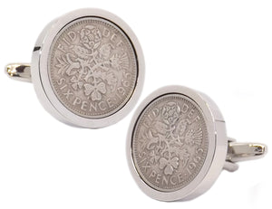 1965 Sixpence Coins Hand Set in a Silver plate Setting Mens Gift Cuff Links by CUFFLINKS DIRECT