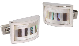 Abalone Shell & Mother of Pearl Stripe Mens Wedding Gift by CUFFLINKS DIRECT