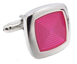 Modern Pink Square Enamel Mens Wedding Gift Cufflinks by CUFFLINKS DIRECT