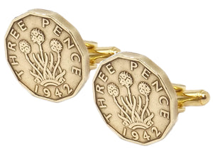 1942 Threepence Coins Mens Birthday Gift Cuff Links by CUFFLINKS DIRECT