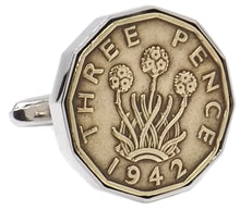 1942 Three Pence Coins Set in Silver Setting Mens 76 Years Gift Cufflinks by CUFFLINKS DIRECT