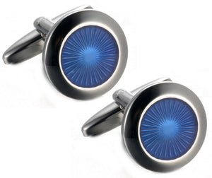 Executive Blue Round Enamel Mens Gift double Cuff links by CUFFLINKS DIRECT