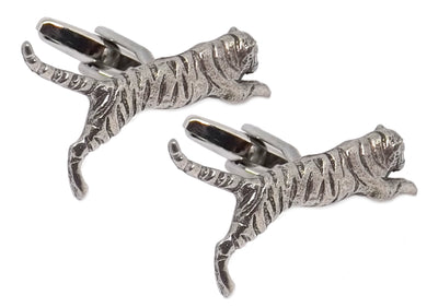 Silver Pewter 3D Tiger Mens Wedding Gift Cuff links By CUFFLINKS DIRECT
