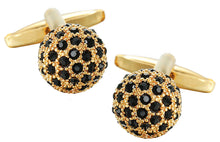 Black Crystal and 9Ct Gold Plate Mens Wedding Gift Cuff links by CUFFLINKS DIRECT