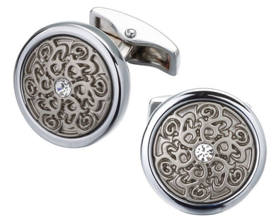 Laser Engraved Relief Retro Pattern & Crystal Wedding cuff links by CUFFLINKS DIRECT