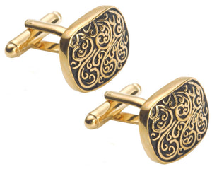Vintage Style Gold and Black Engraved Mens Gift Cuff Links by CUFFLINKS DIRECT