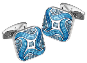 Aqua Blue Enamel Swirl Design Mens Wedding Gift Cuff links by CUFFLINKS DIRECT