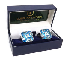 Aqua Turquoise Blue Enamel Swirl Design Mens Wedding Gift Cuff links by CUFFLINKS DIRECT