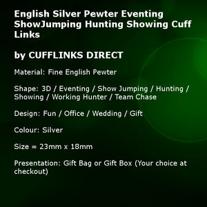 English Silver Pewter Eventing ShowJumping Hunting Showing Gift cuff links by CUFFLINKS DIRECT