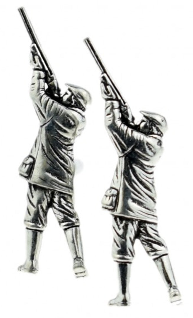 Genuine English Silver Pewter Hunting Shooting Gamekeeper Gift CUFFLINKS DIRECT