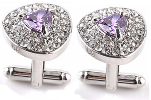 Lovely Purple Crystal Design Mens Wedding Gift Cuff links by CUFFLINKS DIRECT