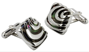 Solid 925 Sterling Silver Black Lip Mother of Pearl Mens Wedding Gift CUFFLINKS