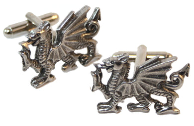 Celtic Welsh Dragon Silver Pewter Wales Mens Gift cuff links by CUFFLINKS DIRECT