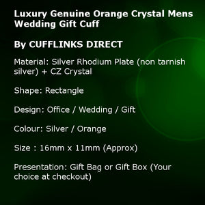 Luxury Genuine Orange Crystal Mens Wedding Gift Cuff links by CUFFLINKS DIRECT