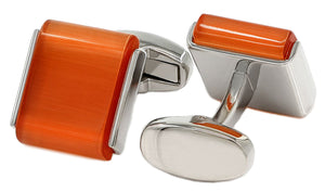 Orange Opaque Cabochon Gem Stone Mens Wedding Gift Cuff links CUFFLINKS DIRECT