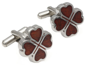 Luxury Lucky Clover Mahogany wood inlay & Silver Mens 5th Wedding Anniversary Gift by CUFFLINKS DIRECT