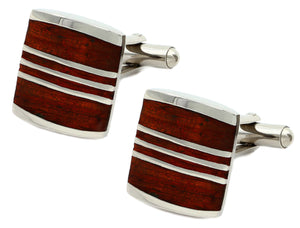 Luxury Mahogany wood inlay & Silver Mens 5th Wedding Anniversary Gift CUFFLINKS