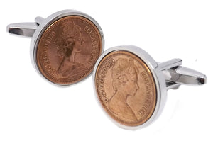 1979 Half pence Coins Set in Silver Setting Men 40 Years Gift - CUFFLINKS DIRECT