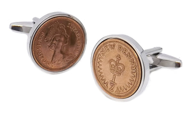 1979 Heads and Tails  Half pence Coins Set in Silver Setting Men 40 Years Gift - CUFFLINKS DIRECT
