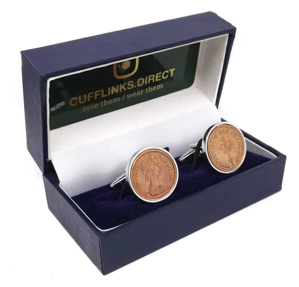 1979 British Half Pence Coins Hand Set in a Silver plate Setting Mens 40 Years birthday Gift Cuff Links by CUFFLINKS DIRECT