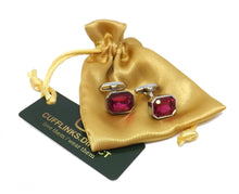 Raspberry Pink Diamond Swarovski Elements Crystal Men Cuff Links   by CUFFLINKS DIRECT