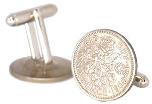 Lucky Sixpence Silver Coin Mens Birthday Gift year 1960 by CUFFLINKS DIRECT