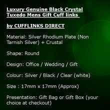 Luxury Genuine Black Crystal Tuxedo Mens Gift Cuff links by CUFFLINKS DIRECT