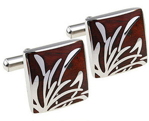 Luxury Mahogany wood inlay & Silver Reed Design Mens Wedding Gift CUFFLINKS