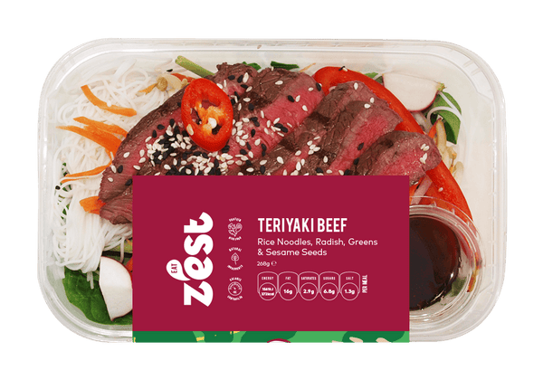 Teriyaki Beef With Rice Noodles Radish & Sesame