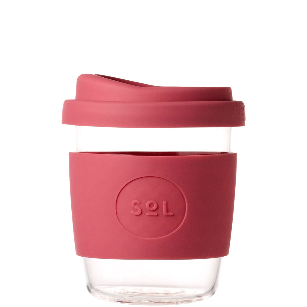 red reusable coffee cup