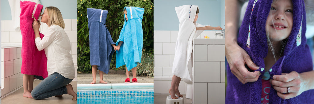 Kids hooded towels - children wearing hooded towels for bathtime, swimming and beach play