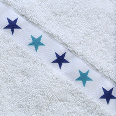 Children's jumbo white hooded towel with Blue Stars trim