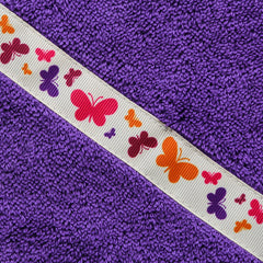 Children's purple hooded towel with Butterflies trim