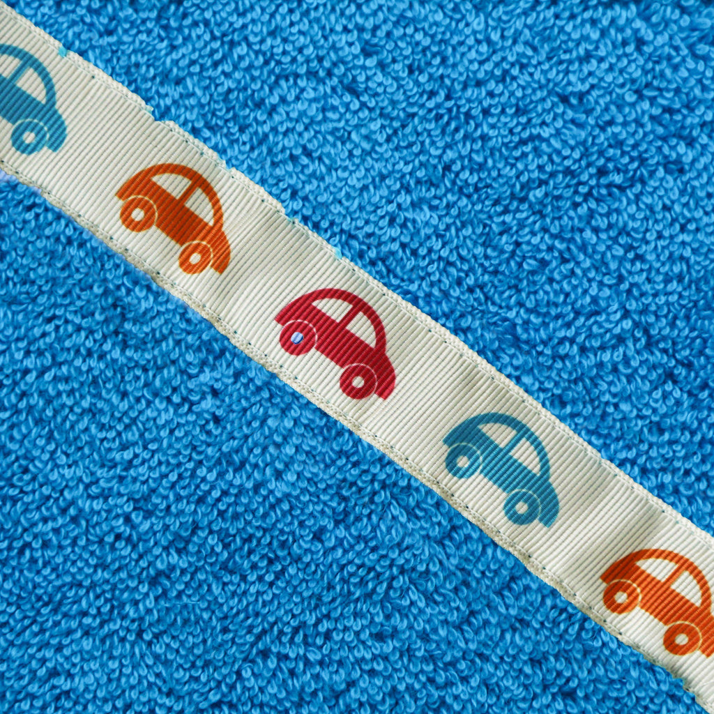 Children's turquoise hooded towel with Cars trim