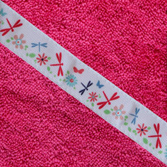 Children's jumbo pink hooded towel with Dragonflies trim