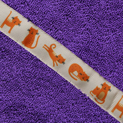 Children's purple hooded towel with Kitty Cat trim